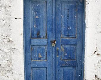 wooden door print, indigo blue rustic weathered door, greek art, santorini photography