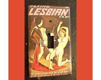 Lesbian pulp switch plate retro vintage paperback art sleaze pin up girl kitsch light switch