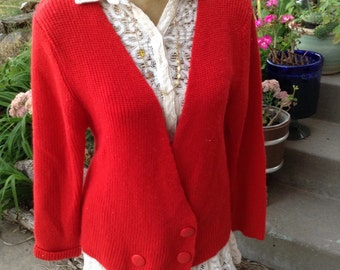 Vintage kitsch 80's Western Connection of California red double breasted preppy sweater free domestic shipping