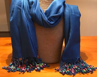 Hand  crafted sensory scarf beaded in multicoloures