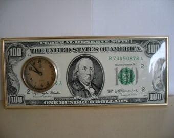 Vintage, Mid century, 100 Dollar Bill Clock, Retro