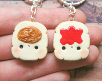 Kawaii Peanut Butter and Jelly Keychain, Kawaii Friendship Necklace, Friendship Necklace For 2, Pb and J, Best Friend Food Necklace