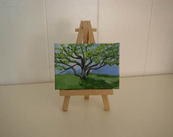 In the Shade, summer landscape, Tree, shade, Original ACEO, acrylic, Mini Art trading card