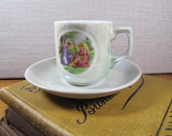 Small Green Lusterware Teacup and Saucer Set - Women in Garden - Made in Japan