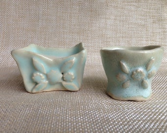 Set of Handbuilt Ceramic Salt Wells or Salt Bowls