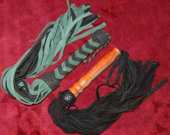 2 Floggers Green Hornet & THUDDY Leather Flogger Cat Of 9 TAILS NEW Soft Leather Tails Falls