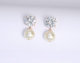 Bridal Earrings Solitaire Pearl Drop Wedding Earrings Minimalist Pearl Earrings
