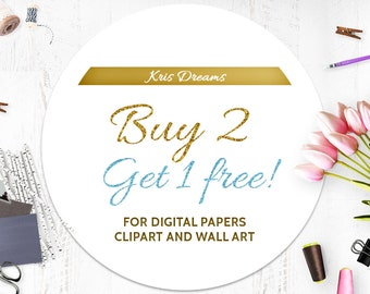Buy 2 Get One Free! Coupon code Sale Discount Clipart Digital Paper Wall Art. Printable