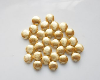 6pcs   8mm Gold vermeil brushed puffy spacer beads