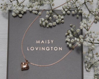 Rose Gold Puffed Heart Necklace