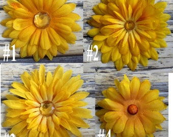Yellow flower hair clips, you pick