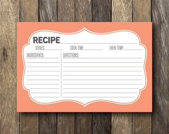 Coral Recipe Cards - Printable 4x6 Recipe Card - Coral Kitchen - Recipe Cards - Bridal Shower - Instant Download - Recipe Card Printable