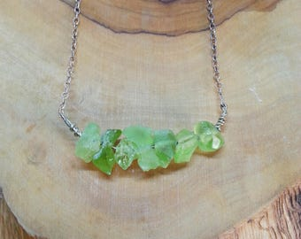 Raw Peridot Necklace Silver Chain Natural Gemstone