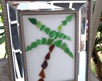 Framed Sea Glass Palm Tree