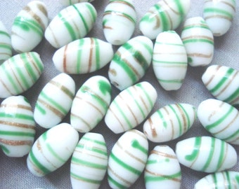 Vintage Striped Glass Beads - 24 Gold Swirl Beads - Striped Glass Beads - Green and Gold Striped Beads - Venetian Glass Bead - 5 Dollar Deal