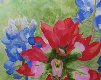 Bluebonnet and Indian Paintbrush, Glossy Greeting Card, 5x7 inches