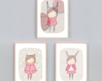 Art Print Set Three, Girls Bedroom Art, Pink Bedroom Art Prints, Animal Nursery Prints, Bunny Print, Kitty Cat Art Pink