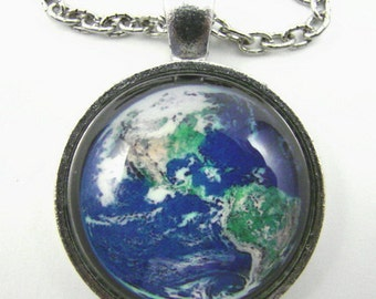 EARTH MARBLE Necklace -- Western Hemisphere, North and South America from space, Science technology art, Physics,  Astronomy necklace