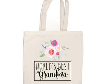 World's Best Grandma OR World's Best Mom Tote Bag, floral tote bag, Mother's Day gift