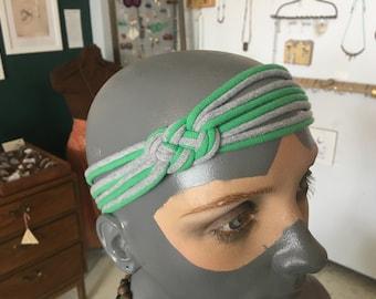 recycled t-shirt headband - green and grey