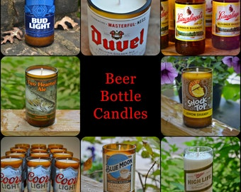 BEER BOTTLE CANDLES - various domestic, imported and craft beer bottles that were bound for the landfill upcycled into unique candles