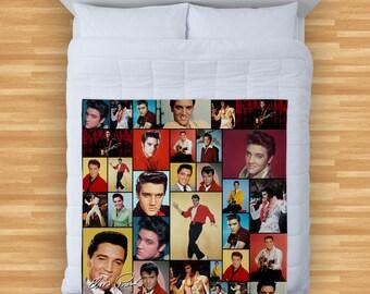 Elvis Presley Colourful Montage Design Soft Fleece Blanket Cover Throw Over Sofa Bed Blanket