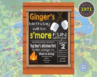 Camping Campground S'mores Custom Chalkboard Birthday Party Invitation Digital Download