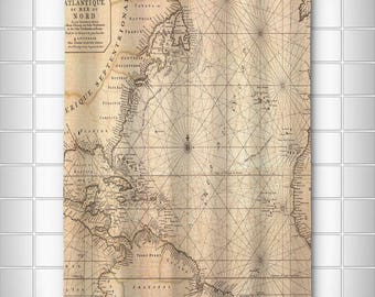 Old World Nautical Chart Shower Curtain, Map Shower Curtain