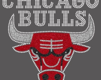 SALE - Chicago Bulls Glitter & Rhinestone Iron-On Transfer