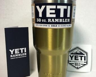 YETI! 30oz Yeti Stainless Steel Rambler tumbler/Cup Powder Coated Brassy Gold BPA Free