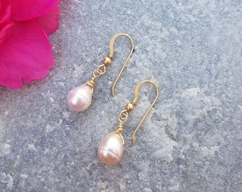 Blush Pink Freshwater Pearl ~ 14kt Gold Filled Earrings ~ KAW
