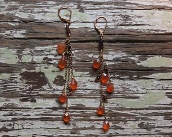 Orange and Bordeaux dangly earrings, long garnet dusters