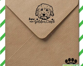 Goldendoodle stamp - custom dog stamp - add your text - wood mounted stamp with handle or self inking - great Doodle gift!