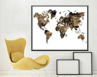 Map World Map Poster  World Map Art World Map Print World Map Wall Art, Sepia Print