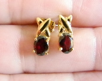 Ruby Red Faceted Glass Gold Tone Post Pierced Earrings