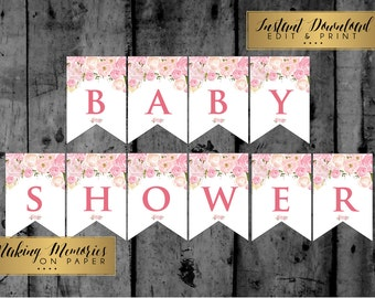 Boho banner feather banner baby shower banner bridal shower pink flower banner floral banner baby shower banner bridal shower banner edit yourself banner editable banner pink banner girl banner solutioingenieria Image collections