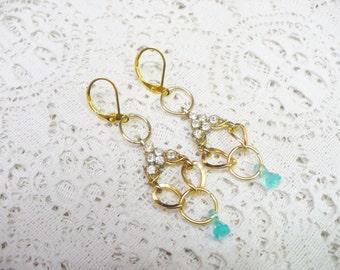 Vintage Handmade Aqua Drop RHINESTONE Earrings-vintage repurposed - gold tone metal -lever back ear wire - assemblage earrings - Bridesmaid