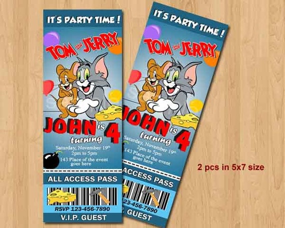 Tom and Jerry Birthday Invitation Tom and Jerry Invites Tom