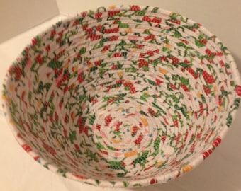 Round Coiled Fabric Bowl, Bright Multi-Color