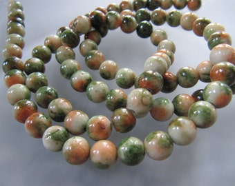 6mm JADE Beads in Green, Salmon Orange, Cream, Dyed, Round, Smooth, Full Strand, 71 Pcs, Gemstones, Mixed Color Beads