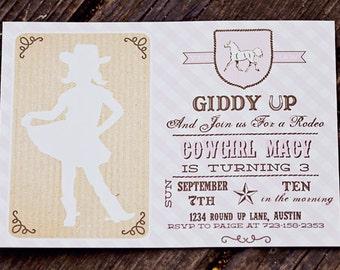 Cowgirl Birthday Invitation- Printable
