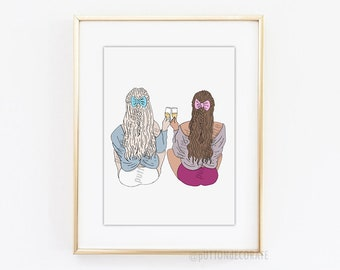 Best Friend Art Print, friendship art print, girl community art print, digital art best friend printable art, gift for best friend art print