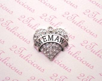 Antique Silver Memaw Heart Crystal Pendant Great Grandmother Grandma Charm Family