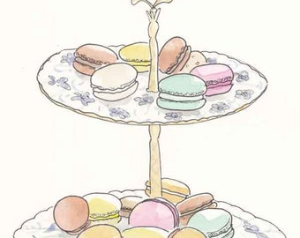 French Macarons for Tea, Pastel Macarons sweet art, Paris Patisserie Art, Paris Pastry Art, Paris Macarons Print, Macarons Print, Tea Print,
