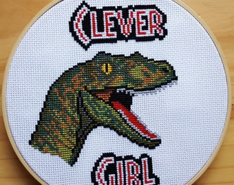 Clever Girl PDF Cross Stitch Pattern / Instant Download / Jurassic Park / Jurassic World