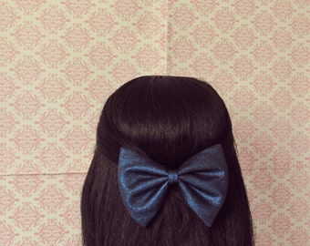 Blue Metallic Party Hair Bow - French Barrette, Metallic Hair Bow, Big Hair Bow
