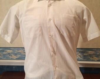 1980s Dress Shirt - Mens White Short Sleeve Nerd Shirt from Brent size Large