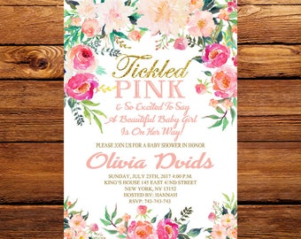 Tickled Pink Baby Shower Invitation, Girl Baby Shower Invitation, Tickled Pink Invitation, Floral Baby Shower,  Watercolor Flower 195