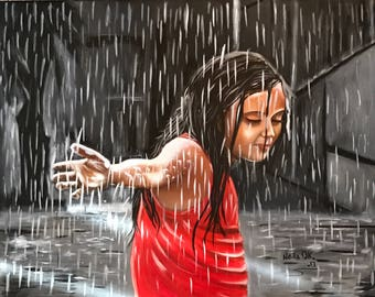 "Girl in Rain ""Summer Rain"" Original Art work"
