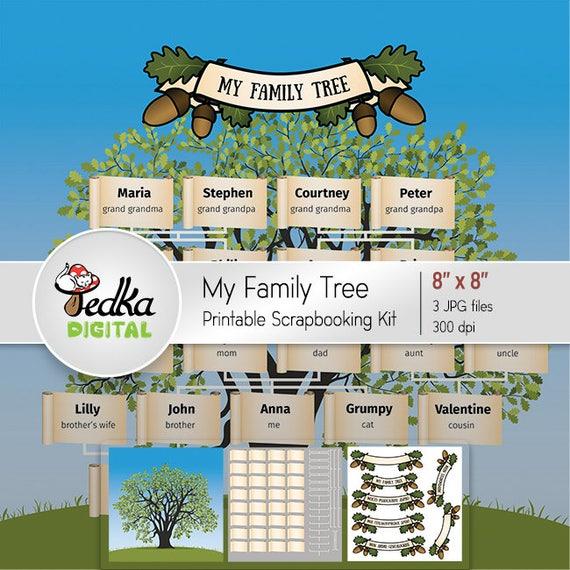 Printable Family Tree Printable Scrapbooking Kit 8x8 Diy Template